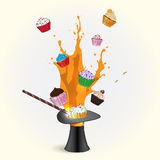 Magic hat with Fancy Sketchy Cupcakes stock illustration