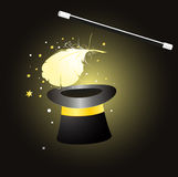 Magic hat with feather Royalty Free Stock Photography