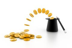 Magic hat and gold coins. 3d Magic hat and gold coins Stock Photography
