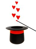 Magic hat with heart signs Stock Photos