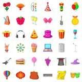 Magic hat icons set, cartoon style. Magic hat icons set. Cartoon style of 36 magic hat vector icons for web isolated on white background Royalty Free Stock Image