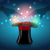 Magic hat. Illustration of magician hat and magic stars and glow Stock Photography