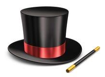 Magic hat and magic wand Stock Photo