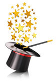 Magic hat and magic wand with gold stars Royalty Free Stock Photo