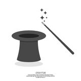 Magic hat and magic wand with sparkles Stock Images