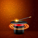 Magic Hat with Magic wand. Vector Magician perfomance. Wizzard show background.  Royalty Free Stock Images