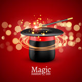 Magic Hat with Magic wand. Vector Magician perfomance. Wizzard show background.  Stock Image