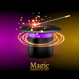 Magic Hat with Magic wand. Vector Magician perfomance. Wizzard show background.  Stock Photo