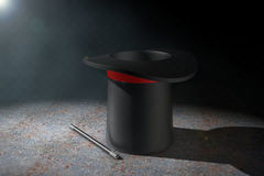 Magic Hat and Magic Wand in the volumetric light. 3d Rendering Stock Images