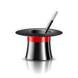 Magic hat and magic wand on white background. Vector illustration Royalty Free Stock Image