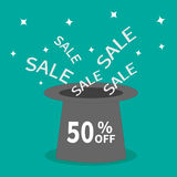 Magic hat.  50 percent off. Sale background. Big sale. Supersale tag. Special offer. Sparkles stars. Flat design. Stock Photo