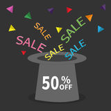 Magic hat.  50 percent off. Sale background. Big sale. Supersale tag. Special offer. Triangle decor. Flat design. Black background. Vector illustration Royalty Free Stock Photos