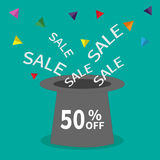 Magic hat.  50 percent off. Sale background. Big sale. Supersale tag. Special offer. Triangle decor. White text. Flat design. Vector illustration Stock Photo