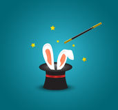 Magic hat with rabbit ears.Magic trick with rabbit ears appear from the magic top hat. Sample Royalty Free Stock Photography