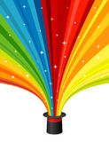 Magic hat with rainbow rays Royalty Free Stock Photography