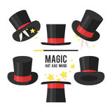 Magic hat set. Magician hat on a white background Royalty Free Stock Photography