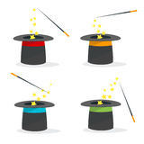 Magic Hat Set with a Wand. Vector Stock Image