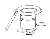 Magic hat. Sketch of the magic hat, wand, cubes and cards Stock Image