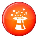 Magic hat with stars icon, flat style Royalty Free Stock Photo
