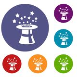 Magic hat with stars icons set. In flat circle reb, blue and green color for web Royalty Free Stock Photo