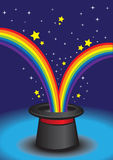 Magic hat with stars and rainbow. Stock Image
