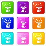 Magic hat with stars set 9. Magic hat with stars icons of 9 color set isolated vector illustration Stock Photography