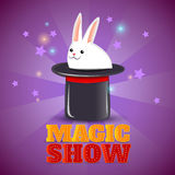 Magic hat trick show background poster Stock Photos