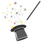 Magic hat and wand vector Royalty Free Stock Images