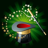 Magic Hat and Wand. Magic performance attributes on glowing green background Royalty Free Stock Photo