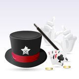 Magic Hat with Wand Royalty Free Stock Image