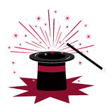 Magic hat and wand Stock Photography