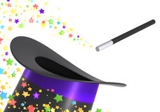 Magic hat and wand with clipping path