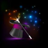 Magic hat and wand Stock Photo