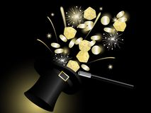 Magic hat. Wand and golden coins Stock Images