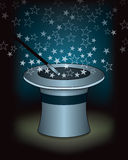Magic Hat. A magic hat and wand with something magical inside Royalty Free Stock Photo