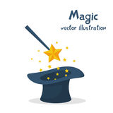 Magic hat and wand with sparkles. Abracadabra cartoon. Magical stars glow. Vector illustration flat design. Isolated on white background. Tricks, focus and vector illustration