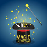 Magic hat and wand with sparkles Stock Photo