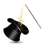 Magic hat and wand with sparkles. vector Royalty Free Stock Photos