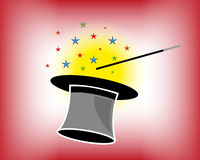 Magic Hat And Wand With Stars. Vector illustration of a black magic hat and a wand with colorful stars Stock Photo