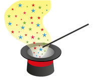 Magic Hat And Wand With Stars. Vector illustration of a black magic hat and a wand with colorful stars on a white ackground Royalty Free Stock Images