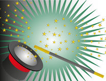Magic Hat And Wand With Stars. Vector illustration of a black magic hat and a wand with yellow stars Stock Image