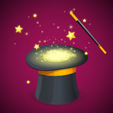 Magic Hat and Wand. Vector Royalty Free Stock Images
