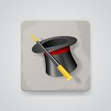 Magic hat and wand, vector icon Stock Photography