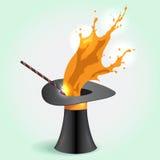 Magic hat whith orange Splash Stock Images