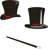 Magic hats and cane Stock Photography