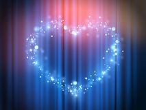 Magic heart lights - Show presentation in heart and love - Glowing theatre light - Heart glowing blue light. Bokeh effect magic heart lights - Show presentation Royalty Free Stock Photos
