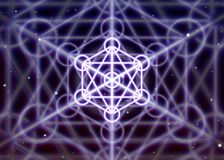 Magic hexagon symbol with circles spreads the shiny mystic energy in spiritual space. Magic hexagon symbol with circles spreads the mystic energy in spiritual stock illustration