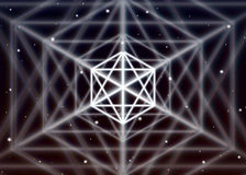 Magic hexagon symbol spreads the shiny mystic energy in spiritual space Stock Photo