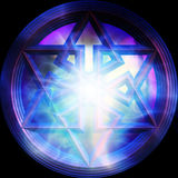 Magic Hexagram. Over mystical backgrounfd Royalty Free Stock Photo