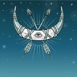 Magic horn a crescent, moon in metal armor. The crossed iron arrows. Eye of Providence. Indian motives, Boho design. Background - the night star sky. Vector royalty free illustration
